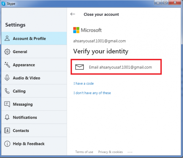 how to delete your skype account step 6