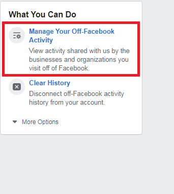 Managing your OFF-FB activity