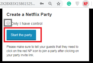 setting up your Netflix Party step 7