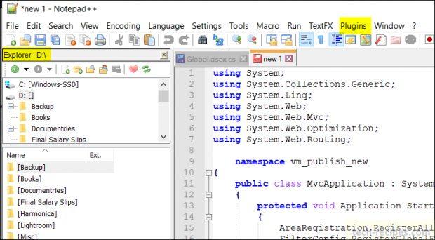Notepad++ Plugins - Explorer