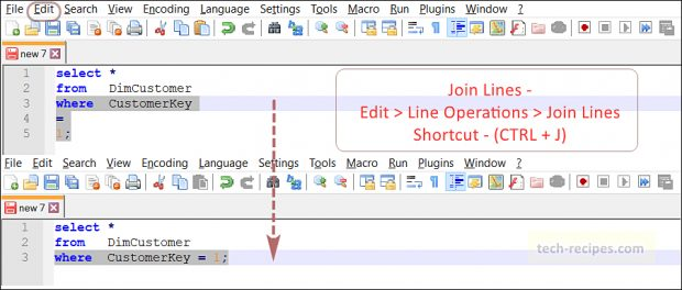 Notepad++ Tips & Tricks - Join Lines