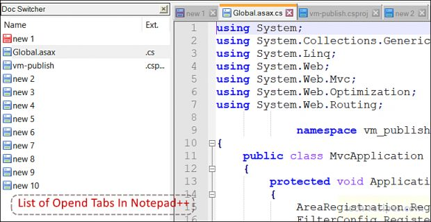 Notepad++ - List Of Opened Tabs