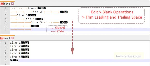 Notepad++ Tips & Tricks - Trim Leading and Trailing Space