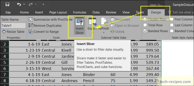 Insert Slicers Microsoft Excel