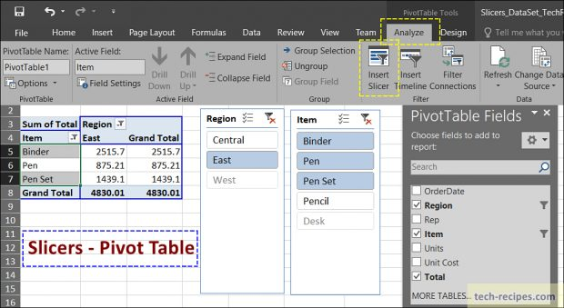 Slicers Microsoft Excel - Pivot Table