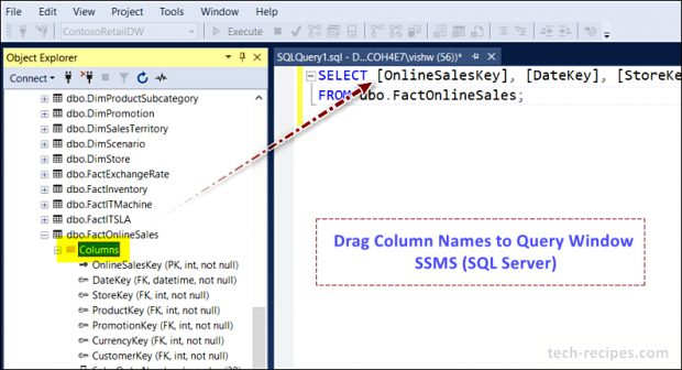 Drag Column Names to Query Window - SSMS - SQL Server