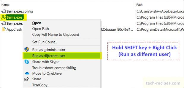 Run as Different User - SSMS - SQL Server