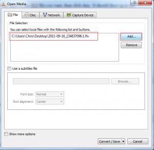 VLC Media Player Add File Conversion