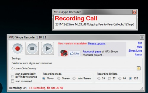 Mp3 Skye Recorder Recording