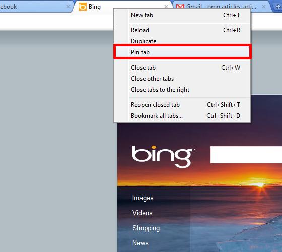 Pin a tab in Chrome