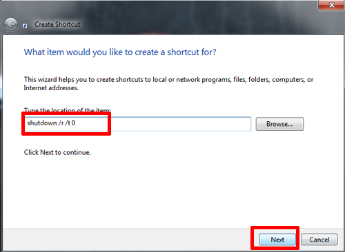 Create Shortcut Text Box Windows 7