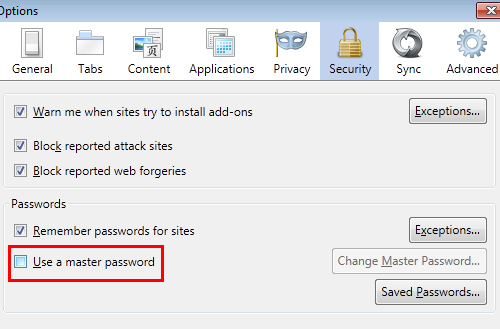 Master Password Firefox 4