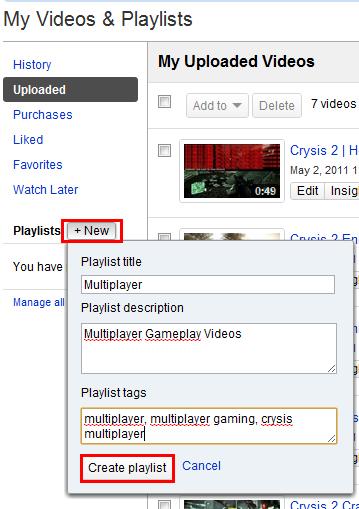 youtube create new video playlist