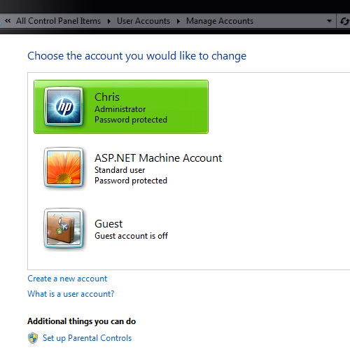 Manage Other Accounts Screen Windows 7