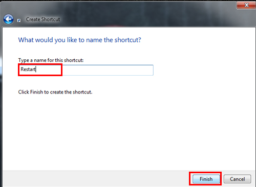 Shortcut Name Field Windows 7