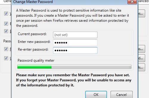 Enter master password Firefox 4