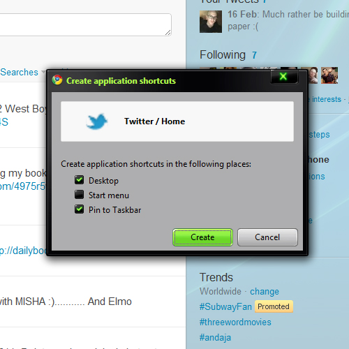 Application Shortcut Chrome
