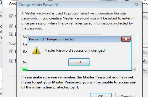 Change master password confirmation firefox 4