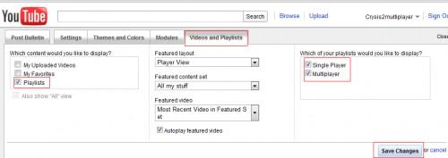 playlist options