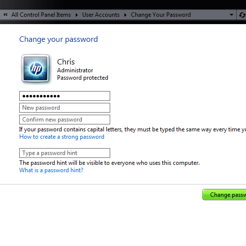 Change Windows 7 User Account Password Screen