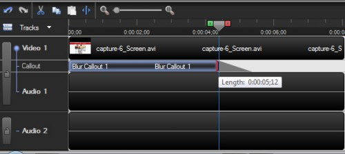 Resize Blur Callout on Timeline Camtasia Studio