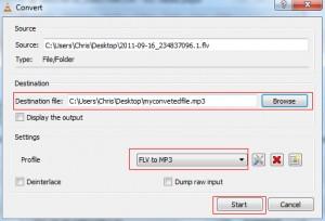 VLC Media Player Start Encode