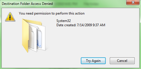 "How to fix file access denied ""you need permission to perform this."