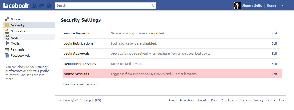 Facebook: How to view your active Facebook sessions and end them
