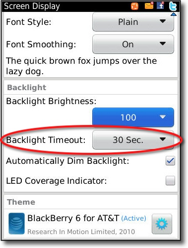 change backlight settings for Torch