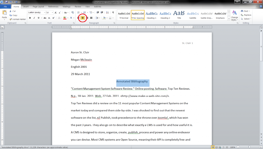mla annotated bibliography template 2011