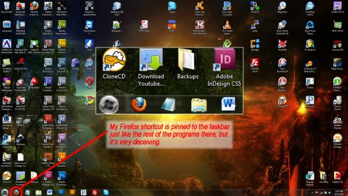 Ordinary Looking Taskbar Shortcut