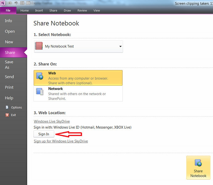 OneNote 2010 & Windows Phone 7 : How to share and sync OneNote 2010