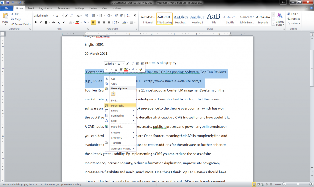Annotated Bibliography - Word Crafter