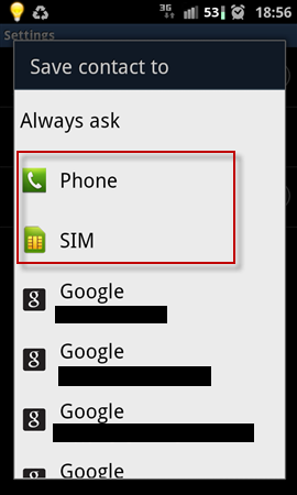 Android: Auto-Save Contacts to Phone or Sim card by default