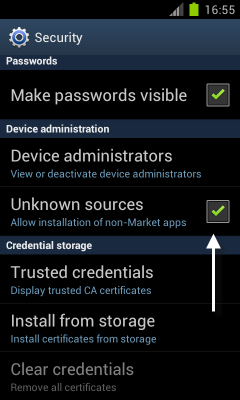 Android: Allow Installation of Non-Market Apps