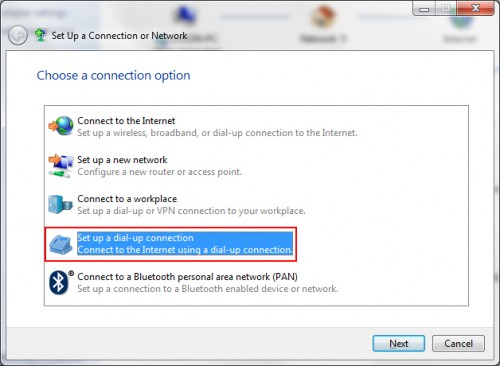 Set up a dial-up connection