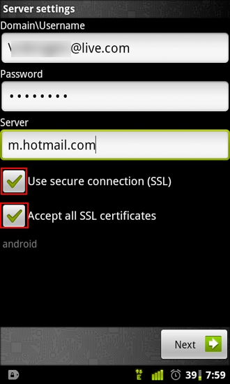 Android: Setup Hotmail as Push Email Using Exchange ActiveSync
