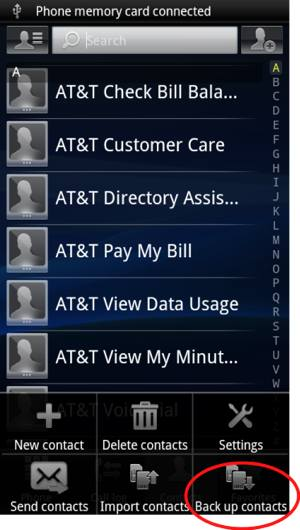 select back up contacts