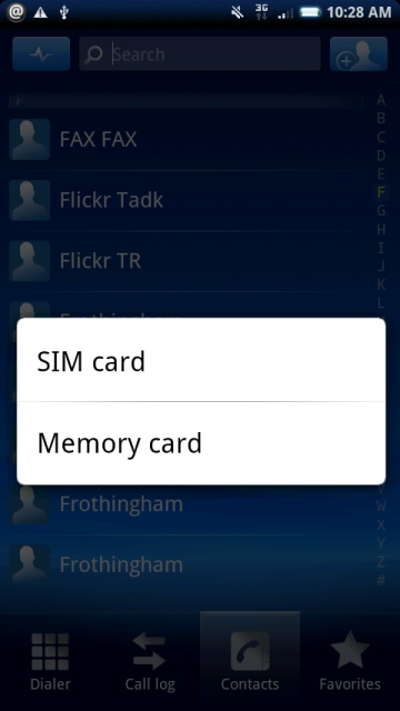 backup contacts to either sim or memory