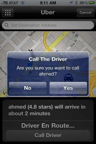 ability to call driver