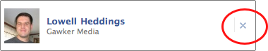click the x to delete the facebook friend
