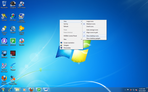 Windows 7: Quickly Hide All Icons from the