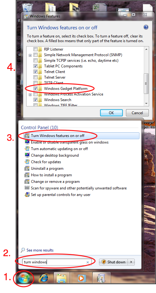 step by step directions for disabling gadgets in windows 7