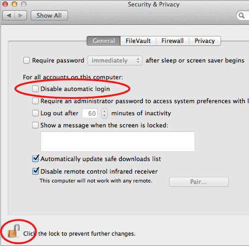 Automatically Login into a Mac without Password