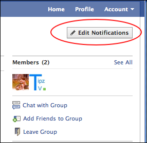showing the Edit Notifications button