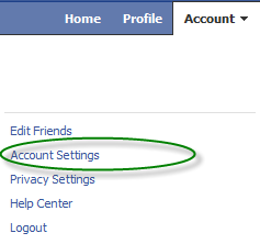 how to go account settings in facebook