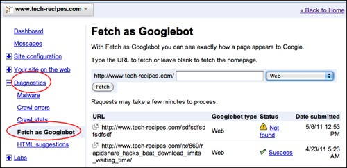 Using google's webmaster central to view as googlebot