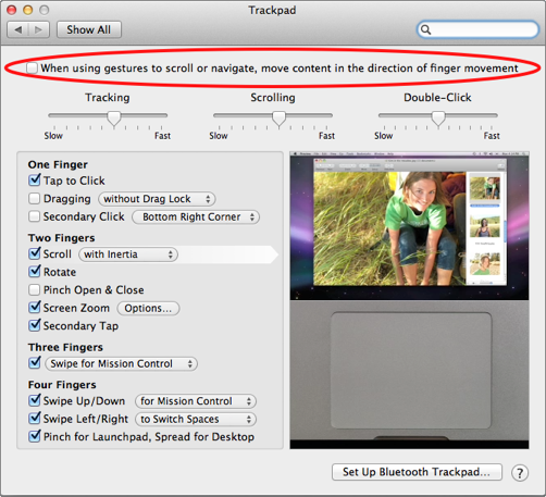 how to reverse scroll direction in os x lion