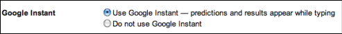 Turn off google instant search in preferences