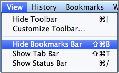 click hide bookmarks bar in the menu